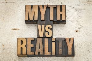 myth vs reality decorative text
