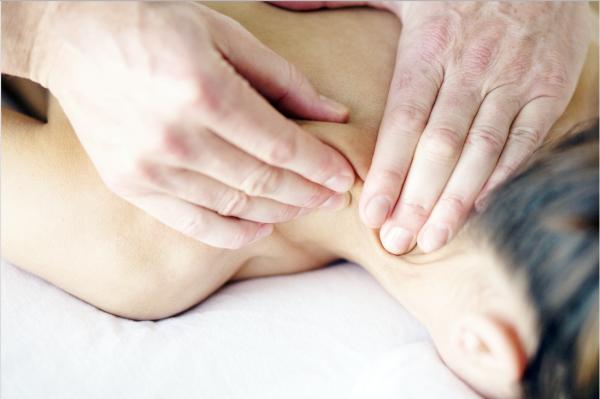 massage therapist working