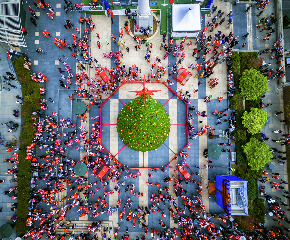 aerial image of union square during christmas time