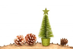 holiday decorations with pinecones and a small christmas tree